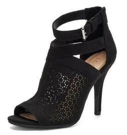 LC Lauren Conrad Yarrow Women's Booties Black Peep Toe Heels